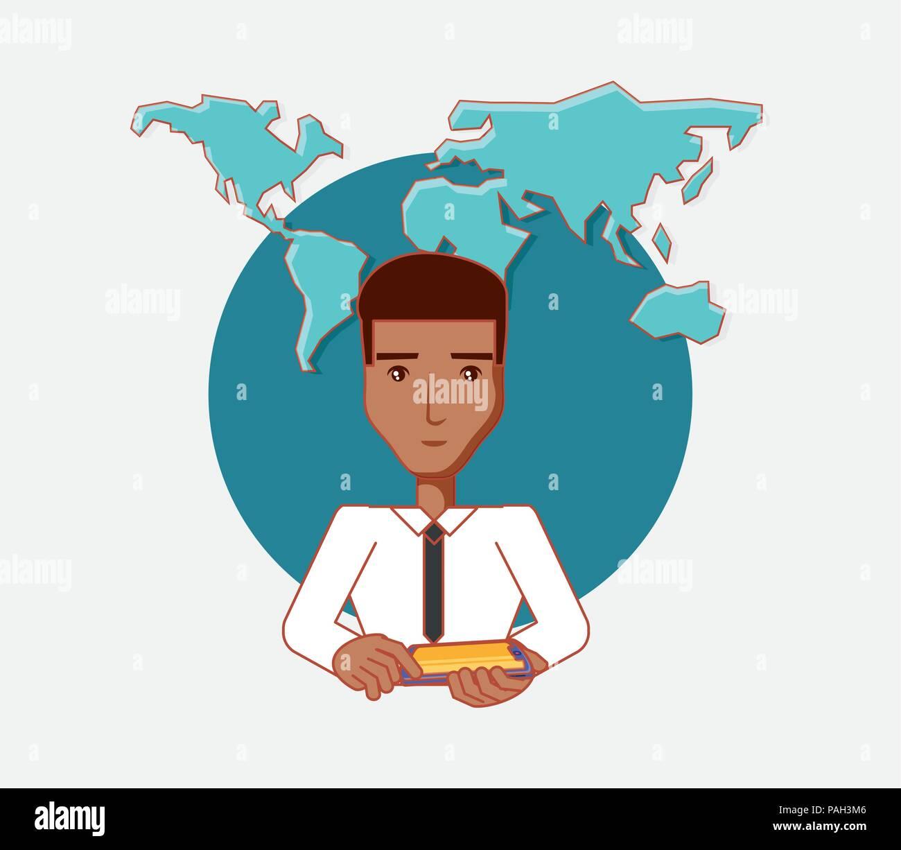 El hombre tiene Tablet PC world social media ilustración vectorial Ilustración del Vector