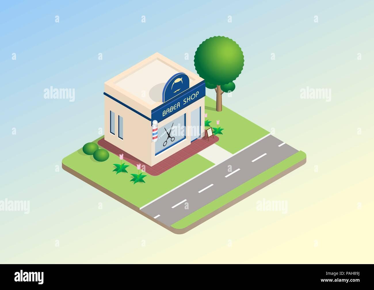 Diseño Isométrico De Barbería Edificio Con Cartel árboles