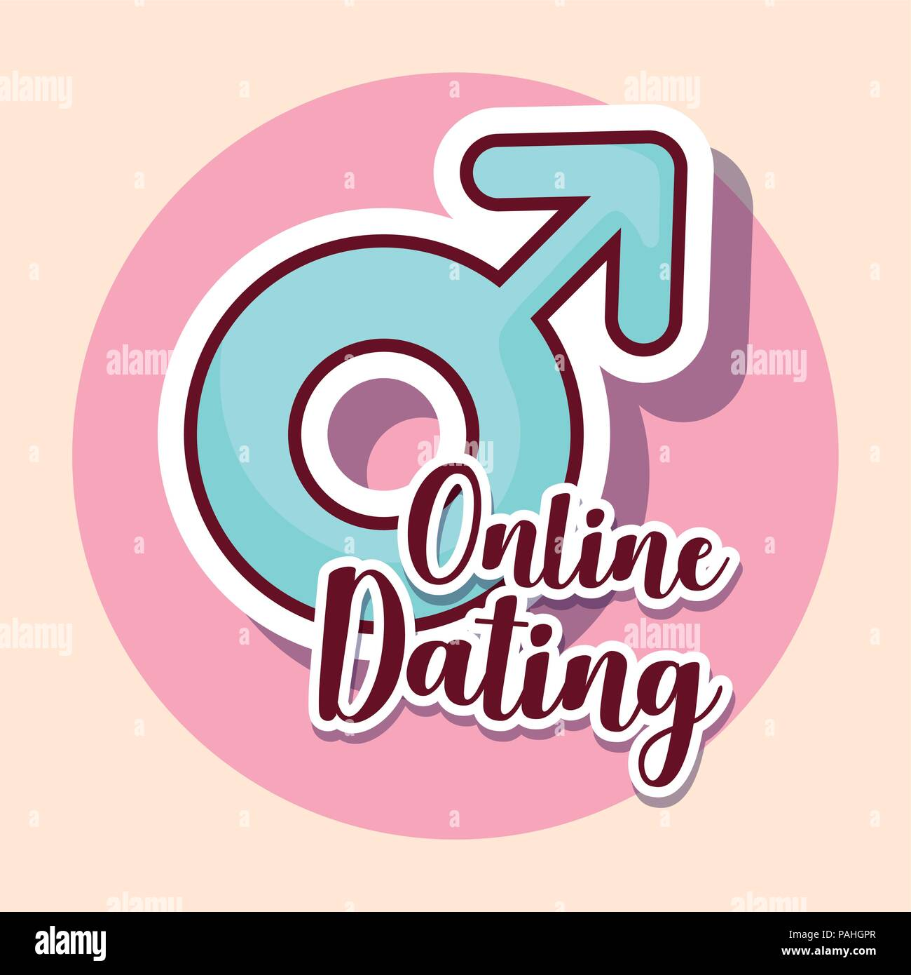 Online dating diseño con símbolo masculino sobre rosa círculo y fondo blanco, ilustración vectorial diseño colorista. Imagen De Stock