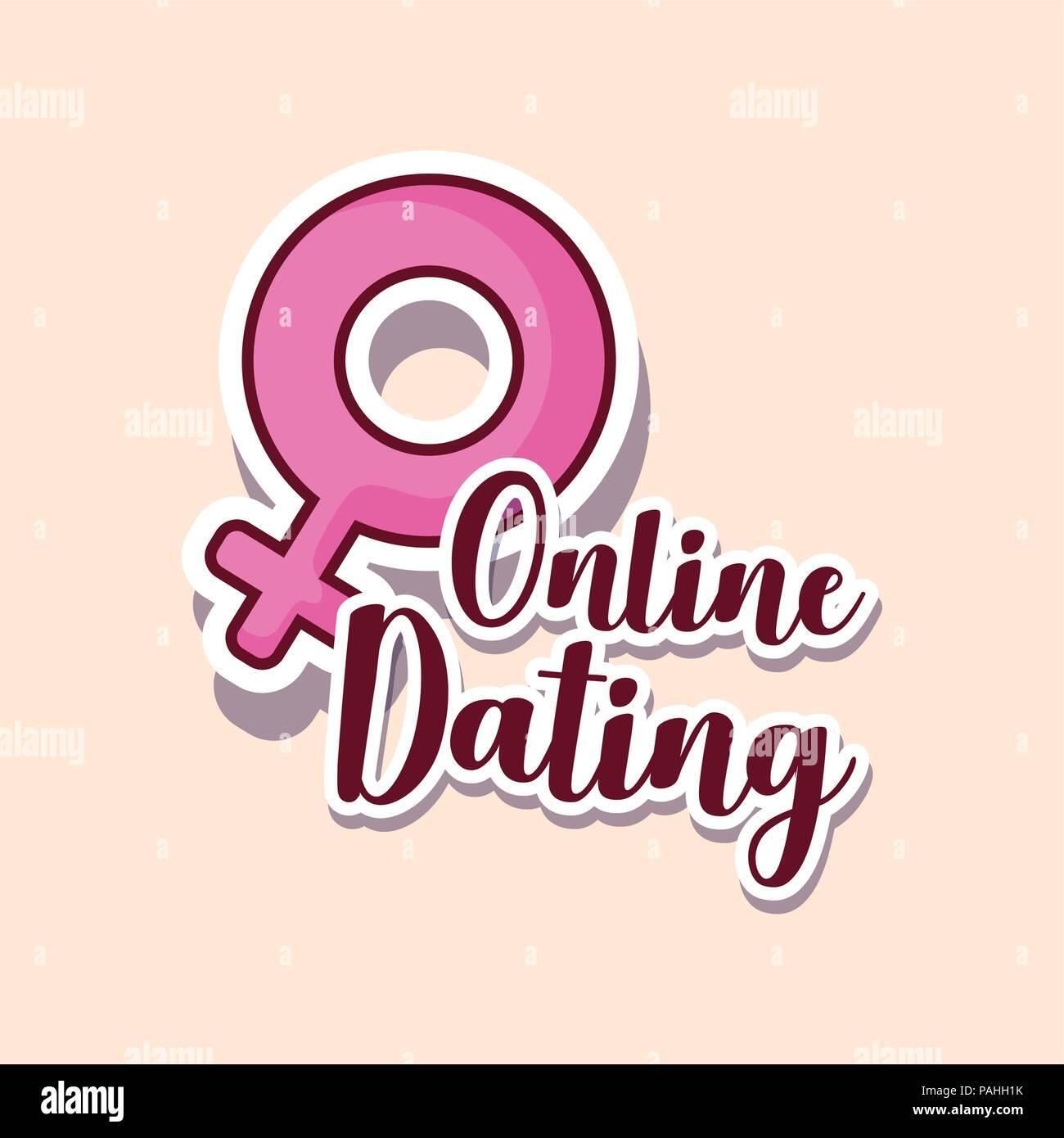 Online dating diseño con símbolo femenino sobre fondo blanco, ilustración vectorial diseño colorista. Imagen De Stock