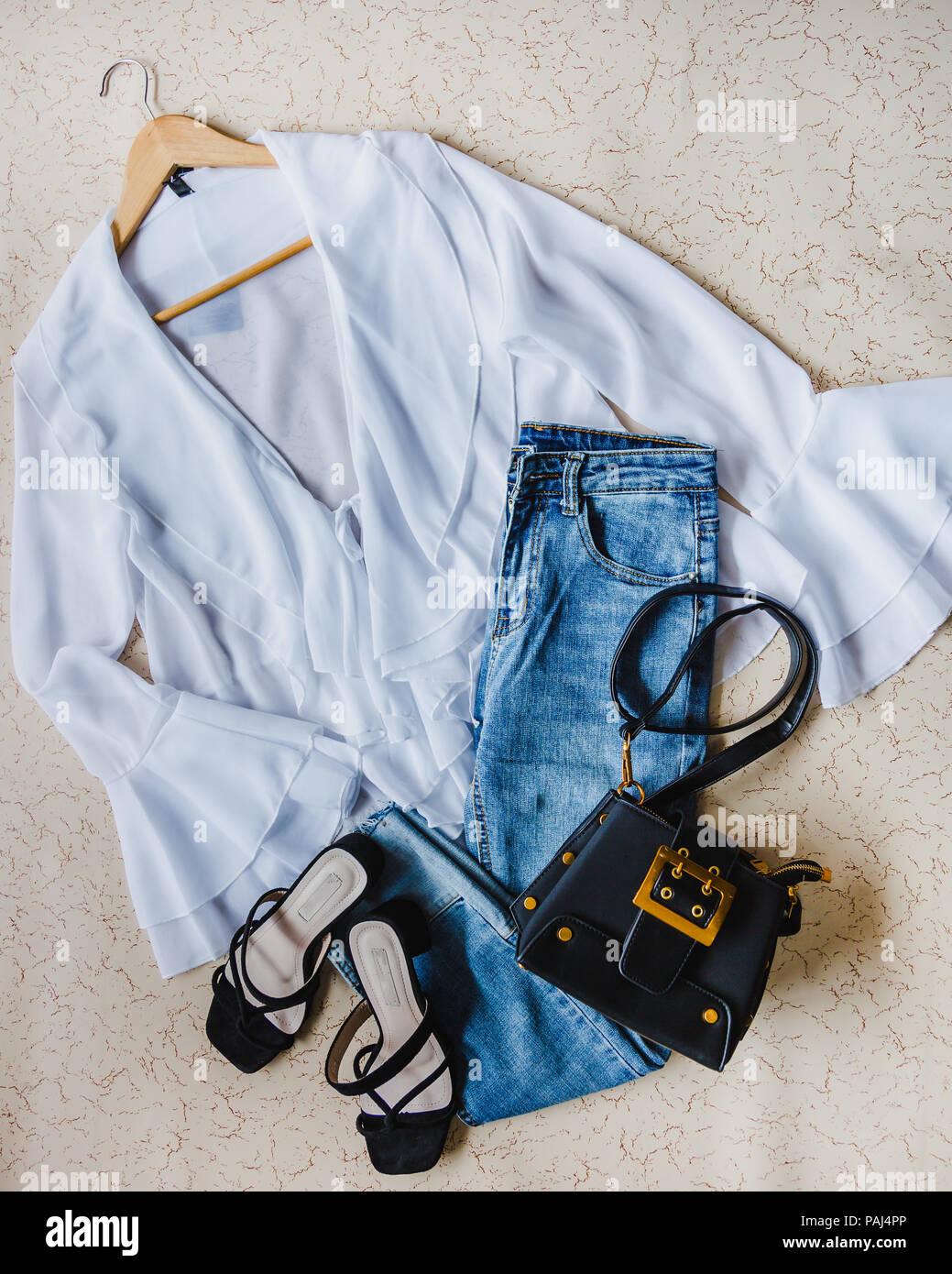 Conjunto de ropa de moda, accesorios collage para mujer