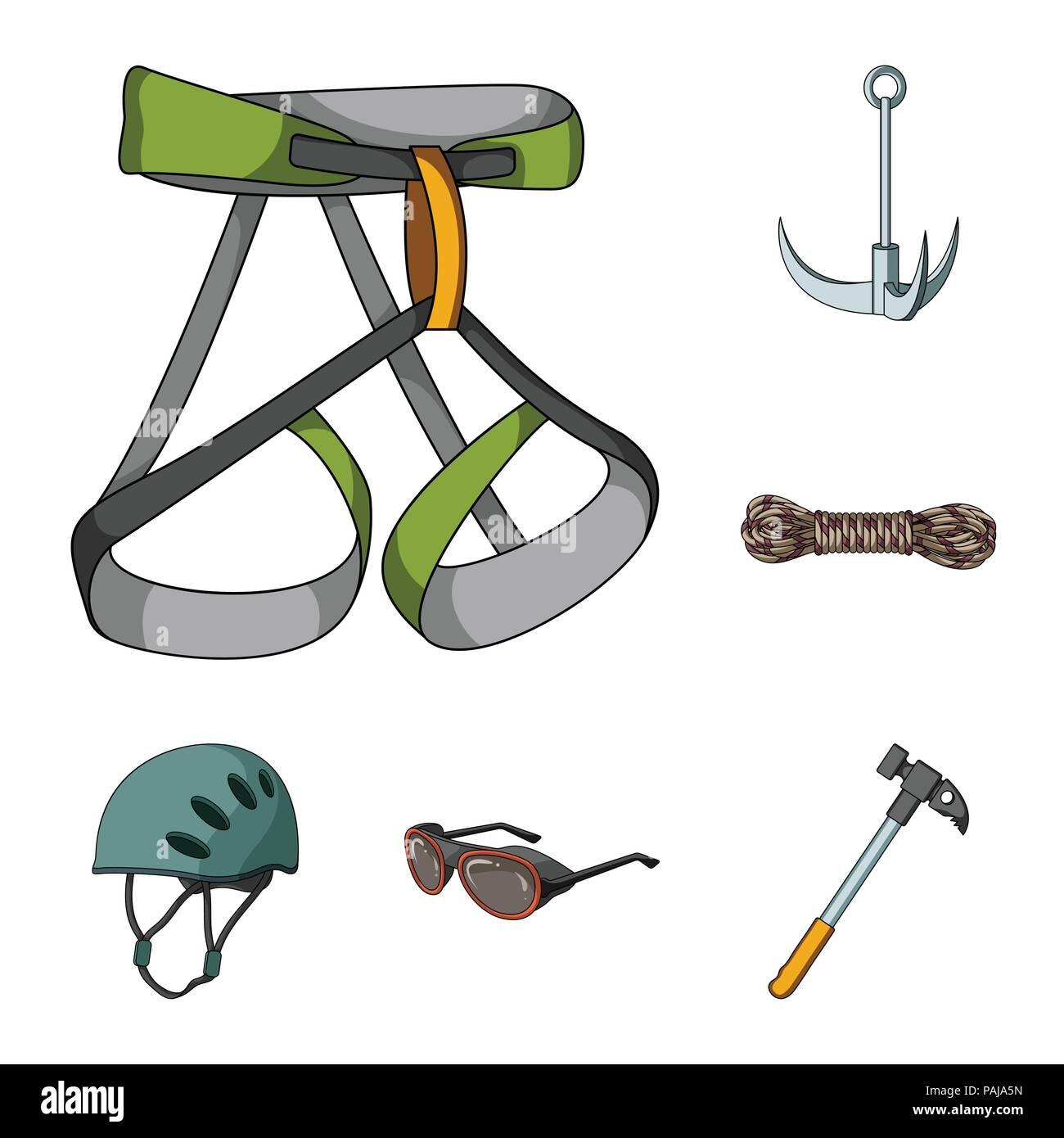 df08722f9ca Montañismo y escalada cartoon iconos en conjunto para el diseño. Equipos y  accesorios símbolo vector stock ilustración.