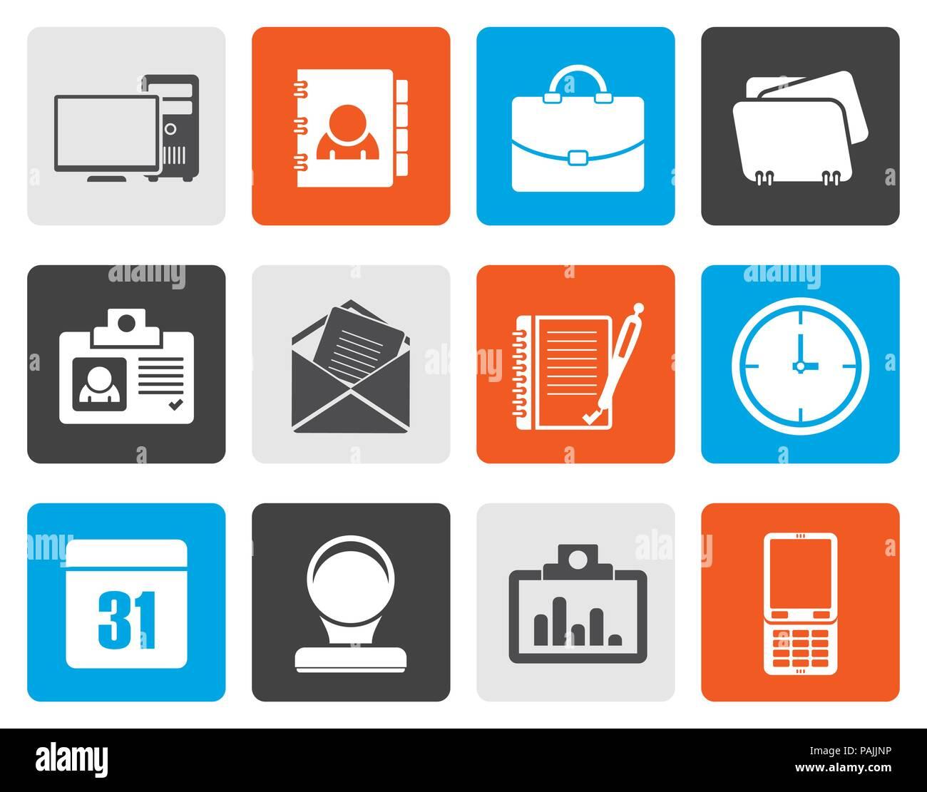 Aplicaciones Web plana,comercial y de oficina, iconos iconos universales - conjunto de iconos vectoriales Imagen De Stock