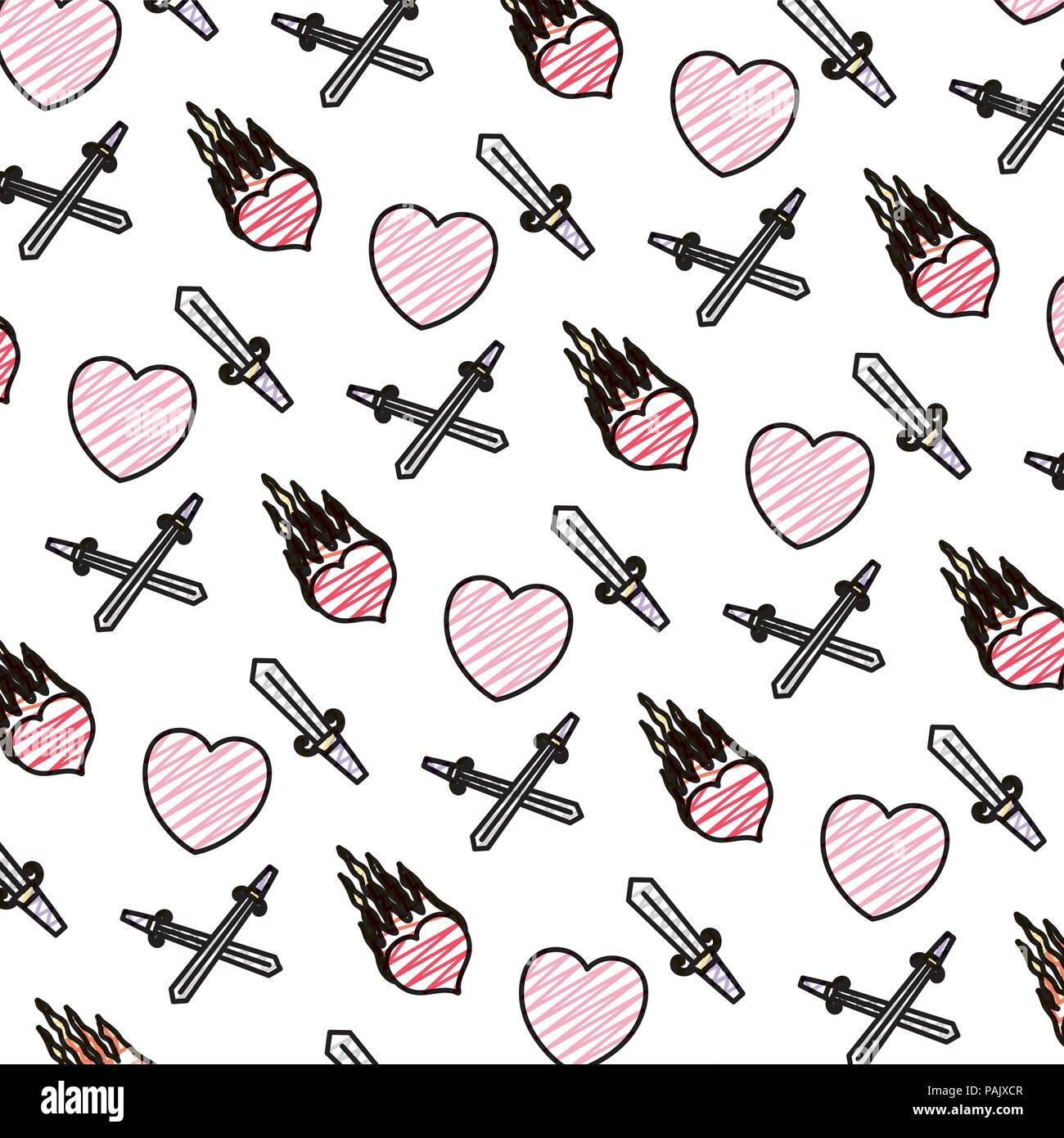 Doodle Corazones Y Pasión De Fondo Con Espadas De Fuego Ilustración
