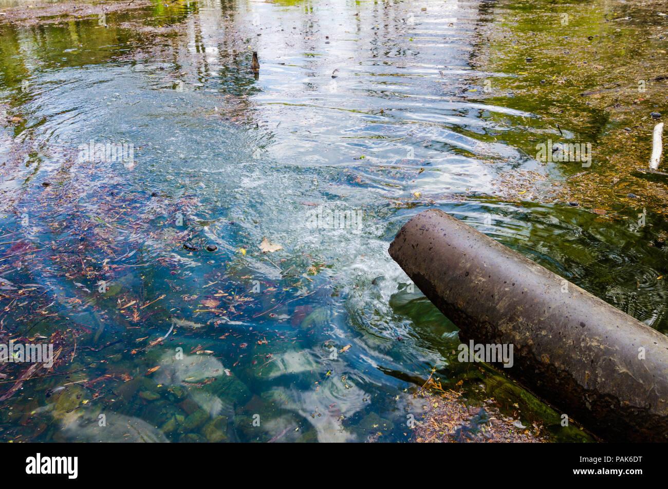 Un tubo oxidado vertiendo agua dulce o tóxico líquido residual en un lago o río contaminado con hojas de naranja y un aspecto espumoso azul Imagen De Stock