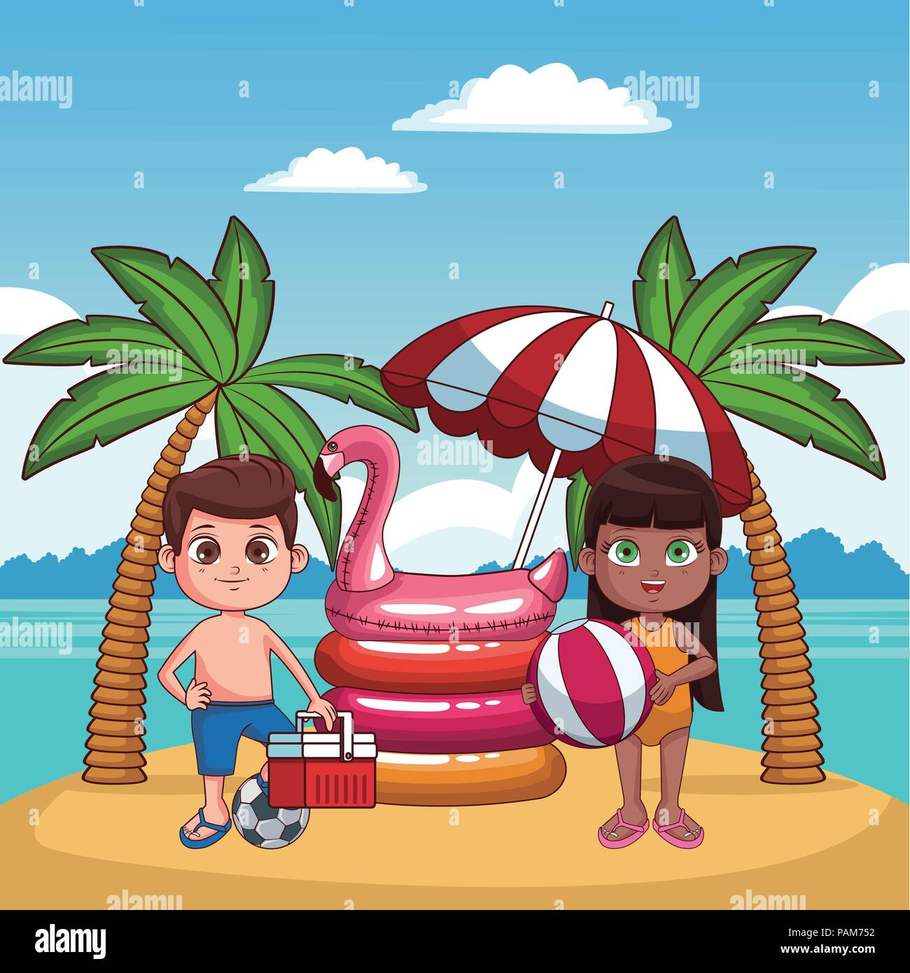 Los Niños Y La Playa Cute Dibujos Animados Ilustración Del Vector