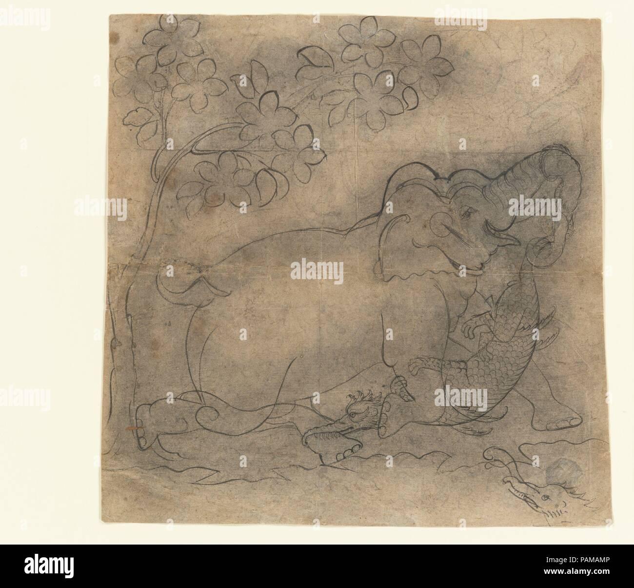 El Elefante Rey lucha un cocodrilo: Ilustración de una serie ...