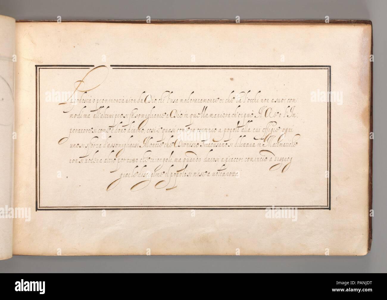 Excersize caligrafía cursiva en italiano (Script). Artista: Anónimo ...