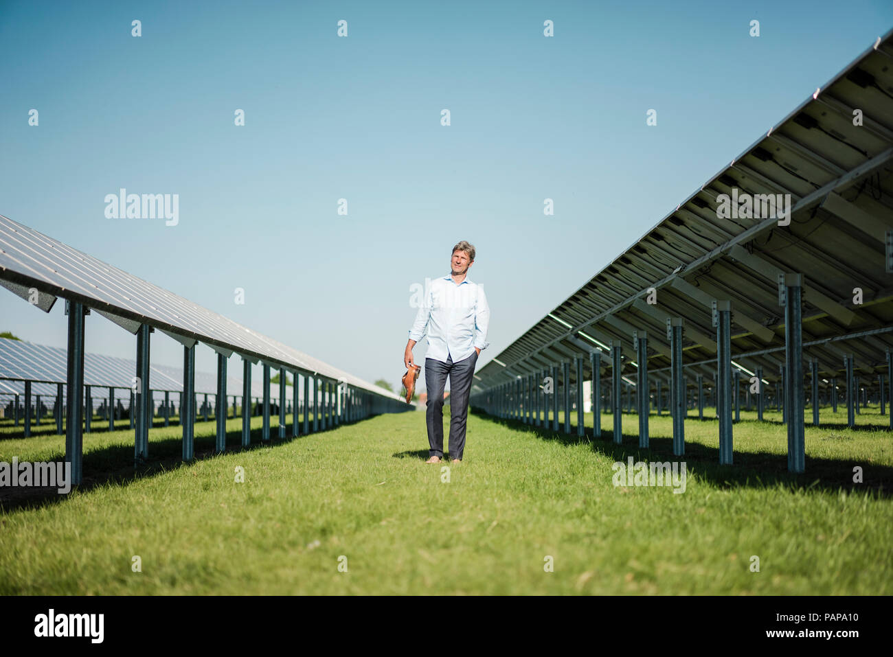Hombre maduro caminar descalzo sobre pradera entre paneles solares Imagen De Stock