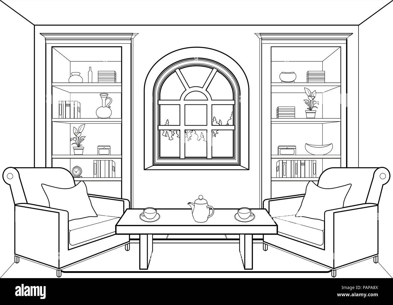 Habitación Con Ventana Grande Esbozo Planas De Contorno Interior