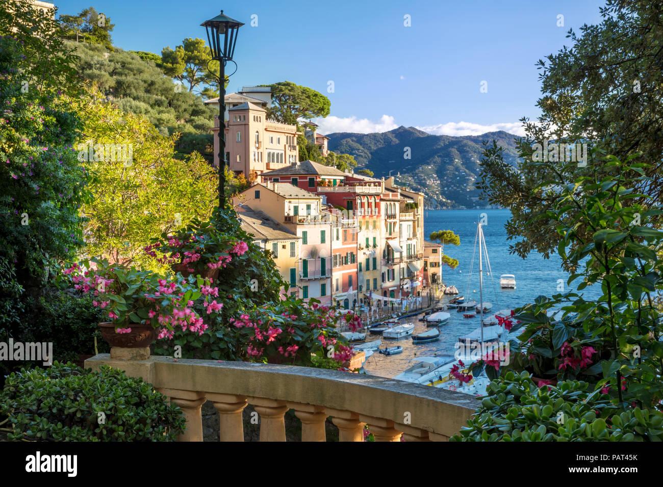Temprano en la mañana vistas ciudad portuaria de Portofino, Liguria, Italia Foto de stock