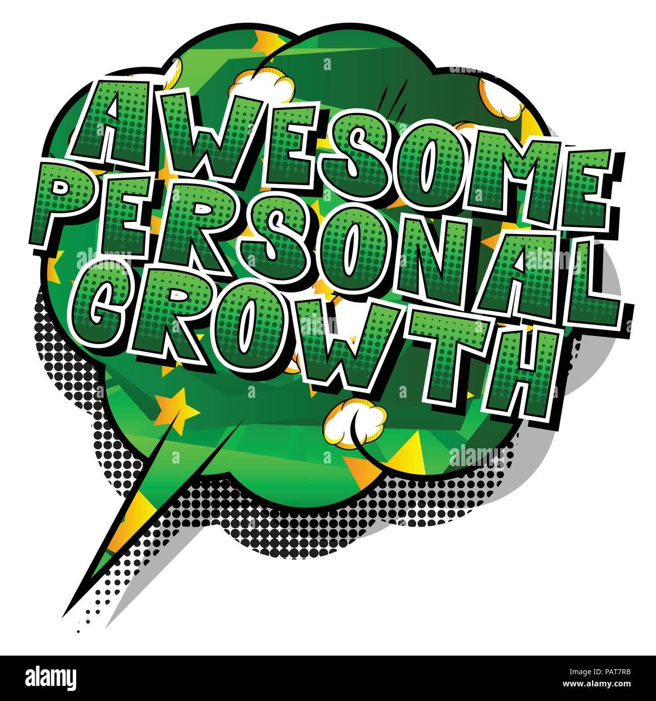 Impresionante Crecimiento Personal - estilo cómic palabra sobre fondo abstracto. Ilustración del Vector