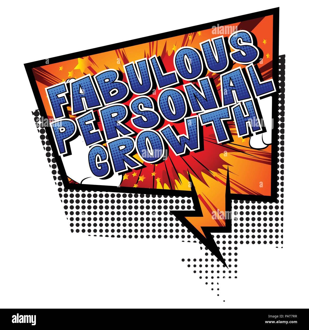 Fabuloso Crecimiento Personal - estilo cómic palabra sobre fondo abstracto. Imagen De Stock