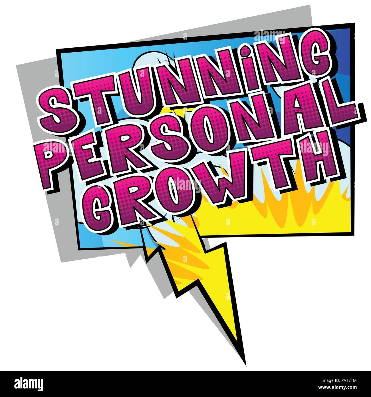 Impresionante Crecimiento Personal - estilo cómic palabra sobre fondo abstracto. Imagen De Stock