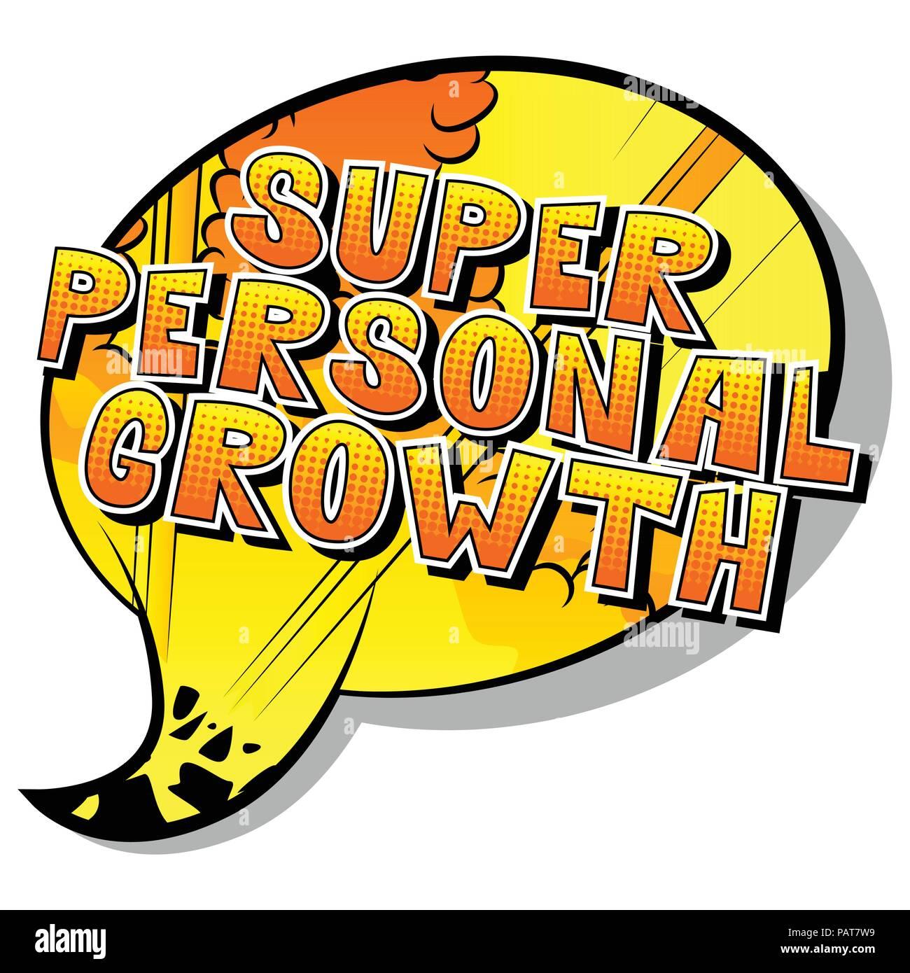 Crecimiento Personal - Super estilo cómic palabra sobre fondo abstracto. Imagen De Stock