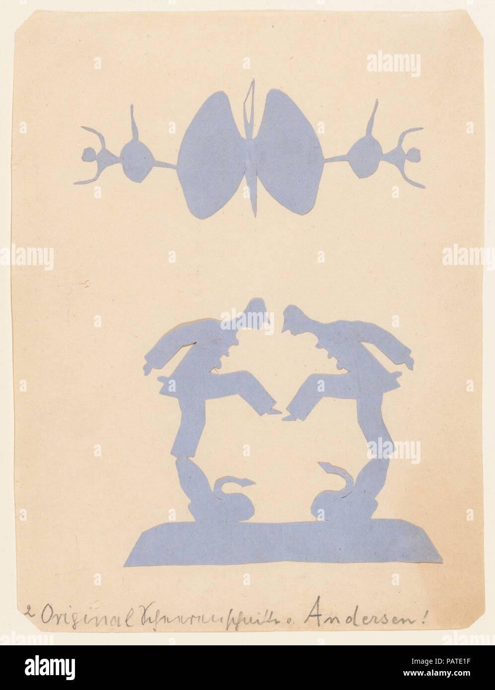 Dos Pierrots equilibrio sobre los cisnes y dos bailarines. Artista ...