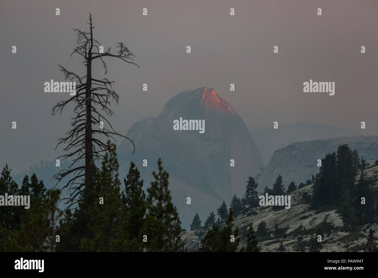 Parque Nacional Yosemite, California, USA. 24 de julio de 2018. Martes, 24 de julio de 2018.El último bit de la luz del Sol es reflejada por el Parque Nacional Yosemite icónicos característica de granito, Half Dome, visto desde el punto de vista de Olmsted mirador. Half Dome está envuelto en el humo de los incendios de Ferguson, quemando cerca del parque El portal de entrada. Crédito: Tracy Barbutes/Zuma alambre/Alamy Live News Foto de stock