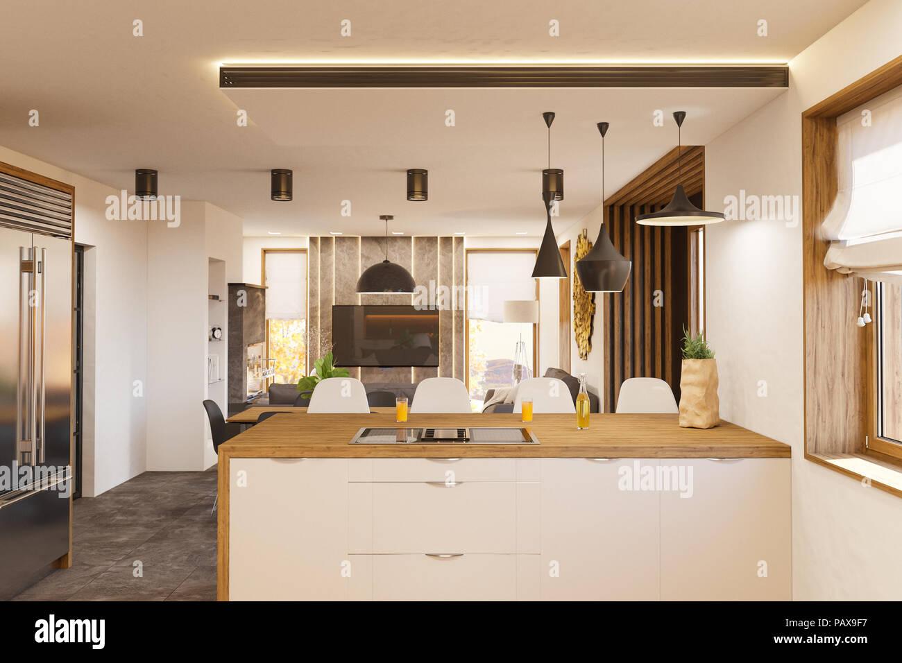 Sal n y cocina con chimenea de dise o interior casa en el for Casa minimalista interior cocina