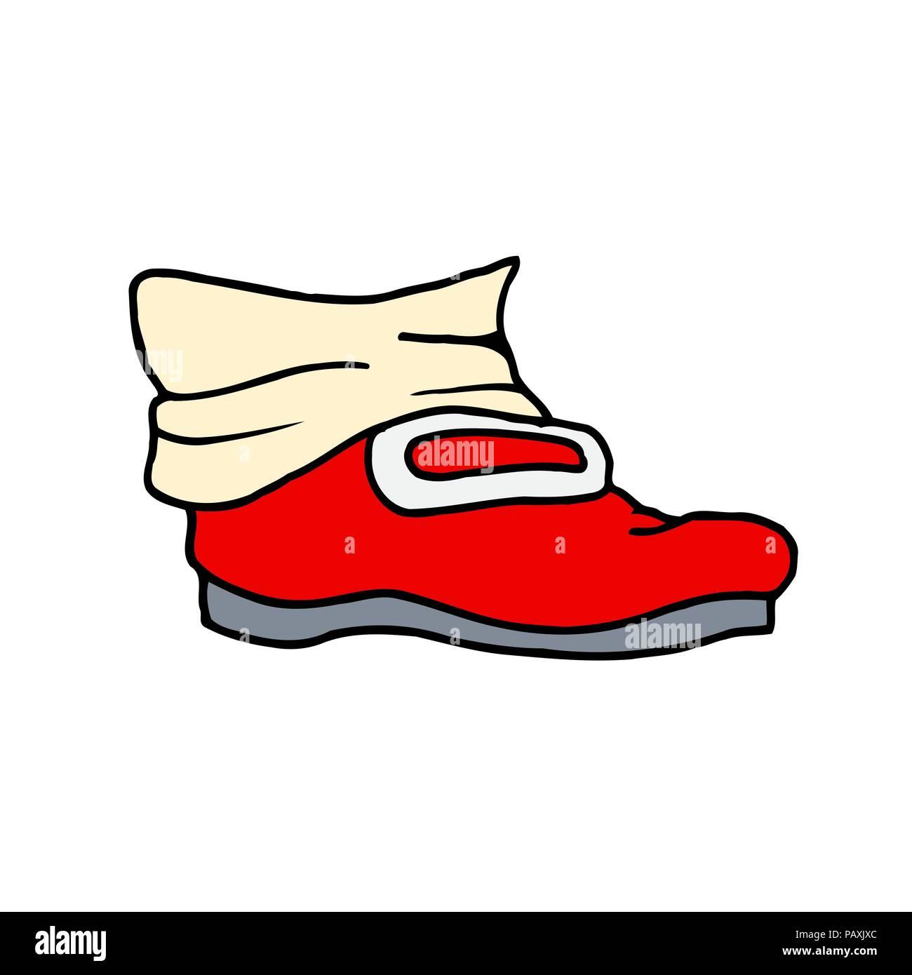 Rojo bota de trabajo viejos dibujos animados. Ilustración