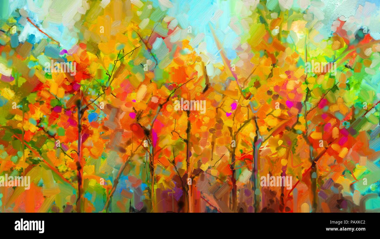 Resumen colorido paisaje óleo sobre lienzo. Semi- Resumen del árbol ...