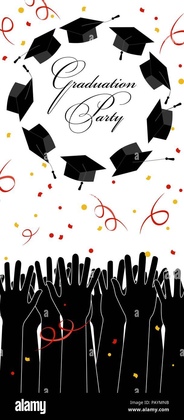 Invitación A Fiesta De Graduados Manos Arrojando Sombreros