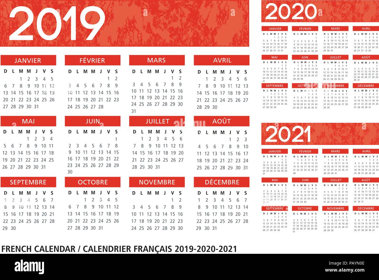 Calendario Frances.Idioma Frances Con Textura Naranja Calendario 2019 2020 2021
