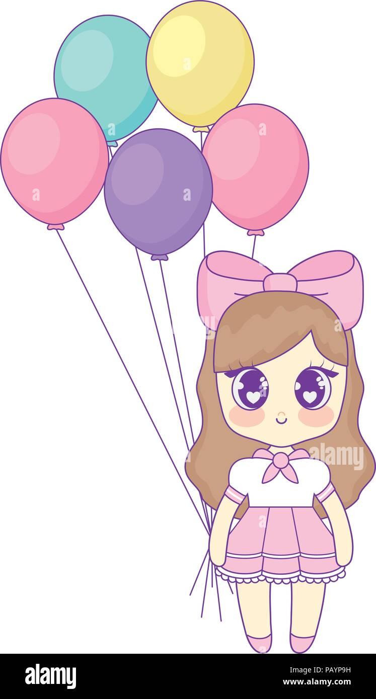 9b2eb1fde Feliz cumpleaños con diseño anime chica con globos sobre fondo blanco