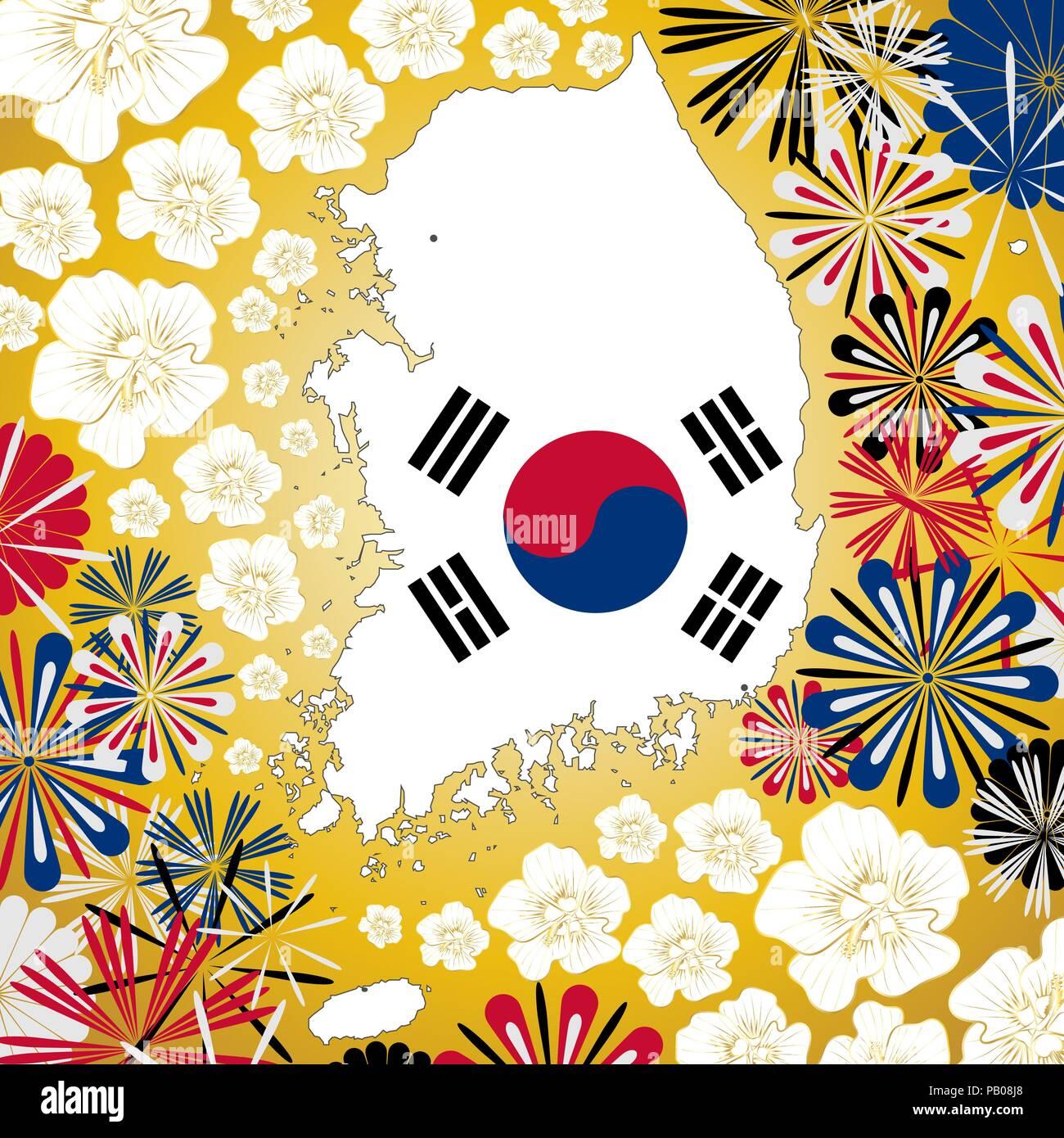 Tarjeta De Vectores Con Corea Del Sur Mapa Sobre Fondo Dorado