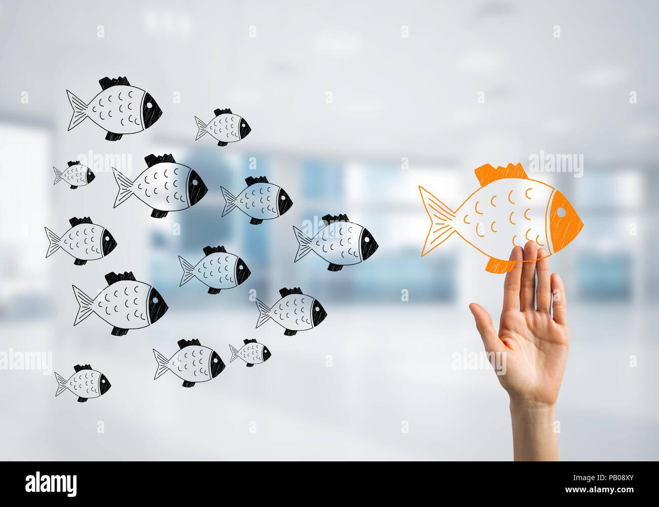 Concepto de liderazgo y teamworking con muchos iconos y uno de ellos de pie Imagen De Stock