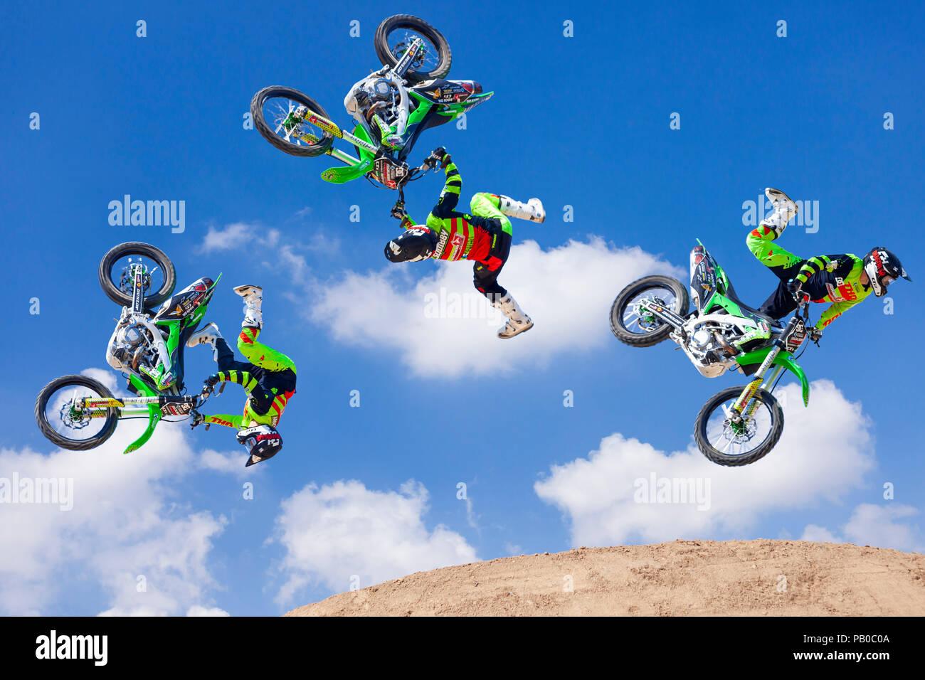 Freestyle Motocross secuencia. Foto de stock