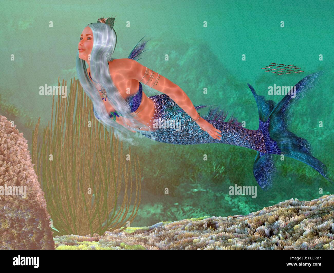 Marina - una sirena hermosa sirena coronada con conchas de mar nadando graciosamente bajo el agua a través de un arrecife marino. Foto de stock