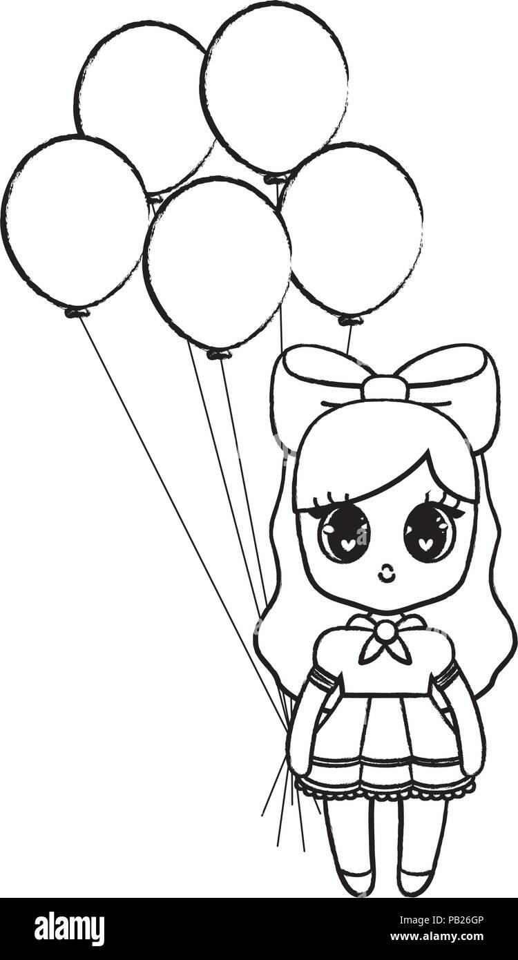 bf1d5539c Feliz cumpleaños con diseño anime chica con globos sobre fondo blanco