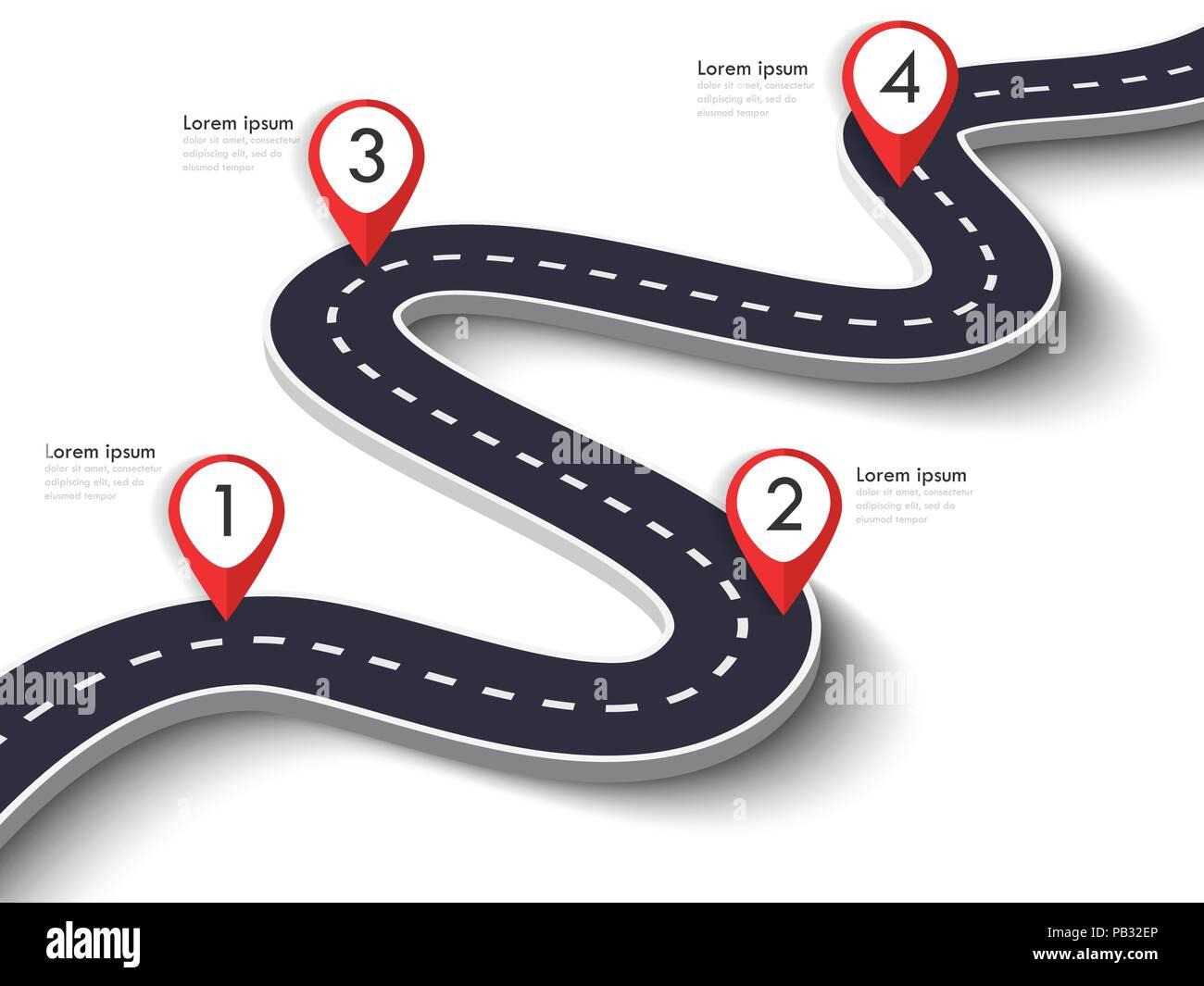 Carretera sinuosa sobre un fondo blanco aisladas. Ubicación carretera infográfico plantilla con clavija puntero. EPS vectoriales 10 Imagen De Stock