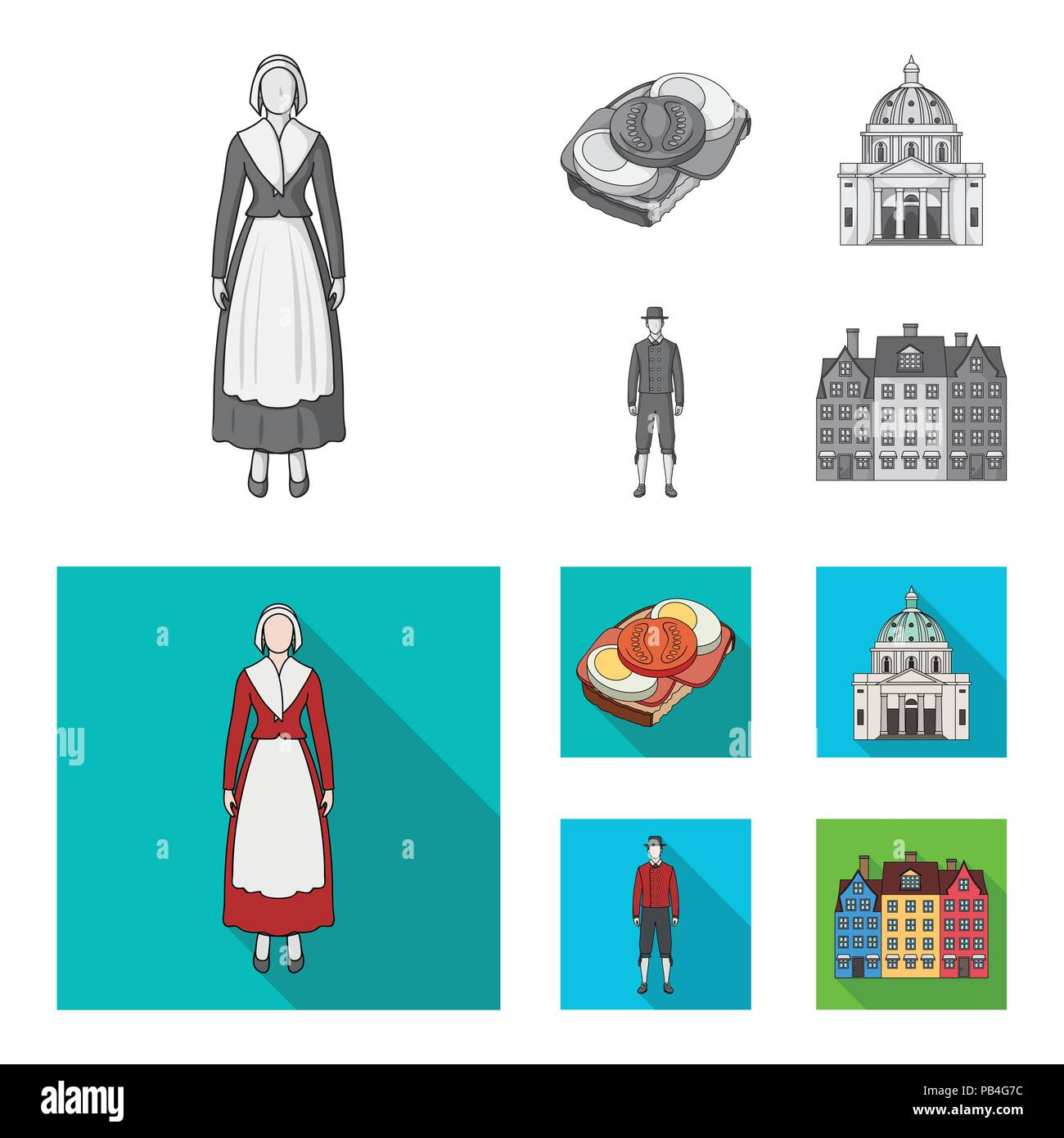 Dinamarca, historia, restaurante y otro icono en monocromo, flat style.sándwich, comida, pan iconos en conjunto Ilustración del Vector