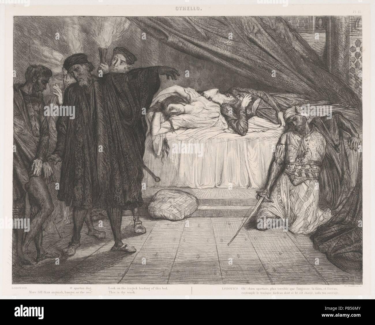 'O Spartan dog': placa 15 de Othello (Acto 5, escena 2). Artista: Théodore Chassériau (francés, Le Limon, Santo Domingo, Indias Occidentales de París 1819-1856). Dimensiones: hoja: 25 x 19 1/4 pulg. (63,5 x 48,9 cm) placa: 12 5/8 x 15 7/8 pulg. (32,1 x 40,4 cm) Imagen: 11 5/16 x 14 5/8 pulg. (28,7 x 37,2 cm). Series/Cartera: Suite de 15 impresiones: la obra de Shakespeare Othello / Quinze Esquisses à l'eau forte dessinées et gravées par Théodore Chasseriau. Asunto: (británico William Shakespeare, Stratford-upon-Avon 1564-1616 Stratford-upon-Avon). Fecha: 1844. En 1844 Eugène Piot encargó al joven Chassériau a p Foto de stock