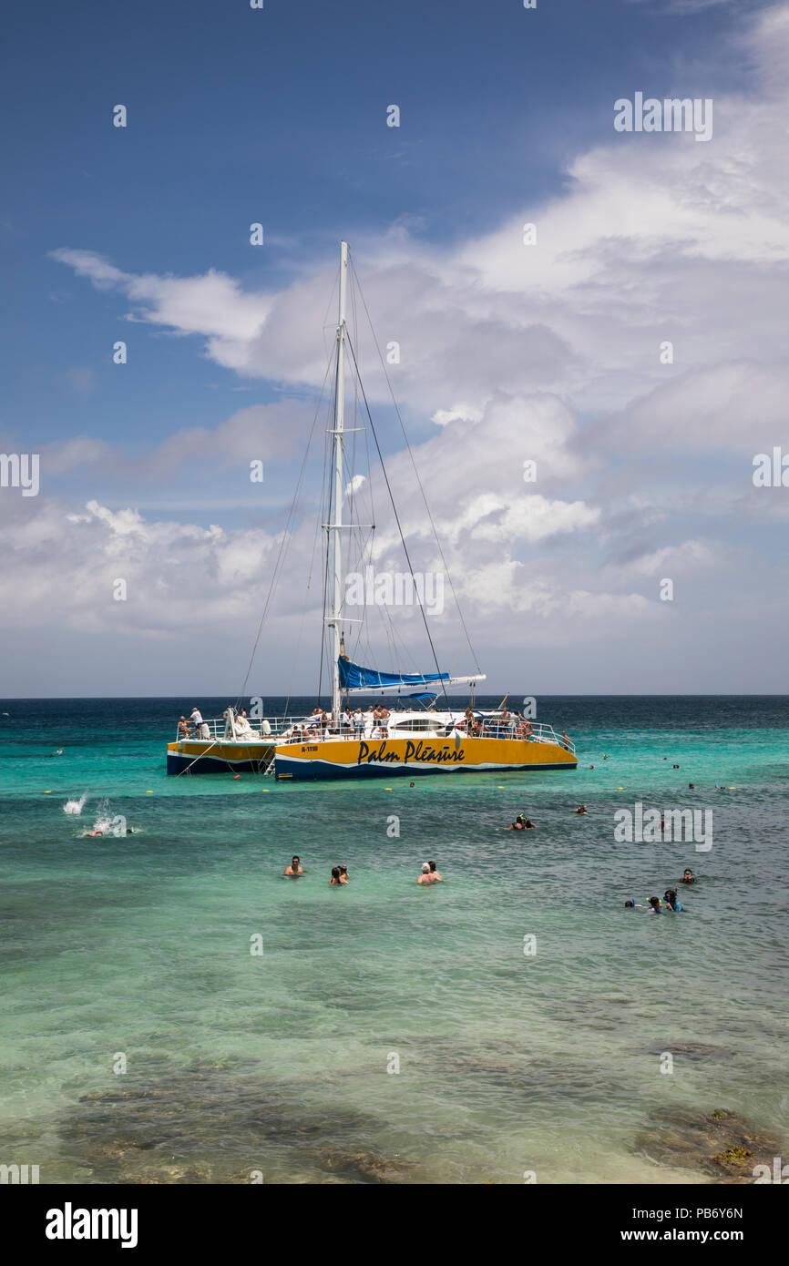 Palm placer en catamarán, Boca Catalina Beach, Aruba, el Caribe Imagen De Stock