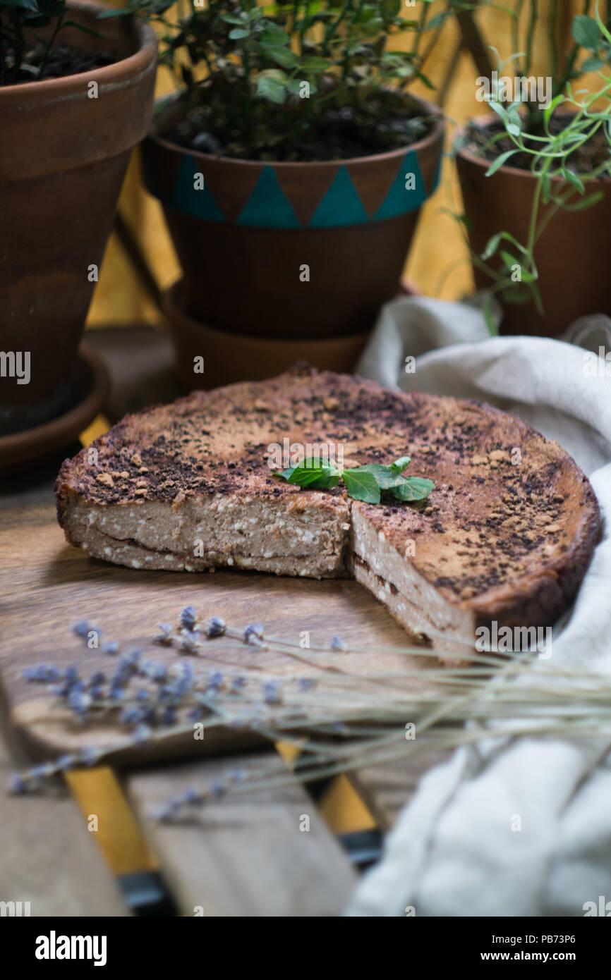Casero suave cheesecake (tarta de queso cottage, cazuela, zapekanka) vainilla chocolate con canela sobre una tabla de cortar. Enfoque selectivo Imagen De Stock