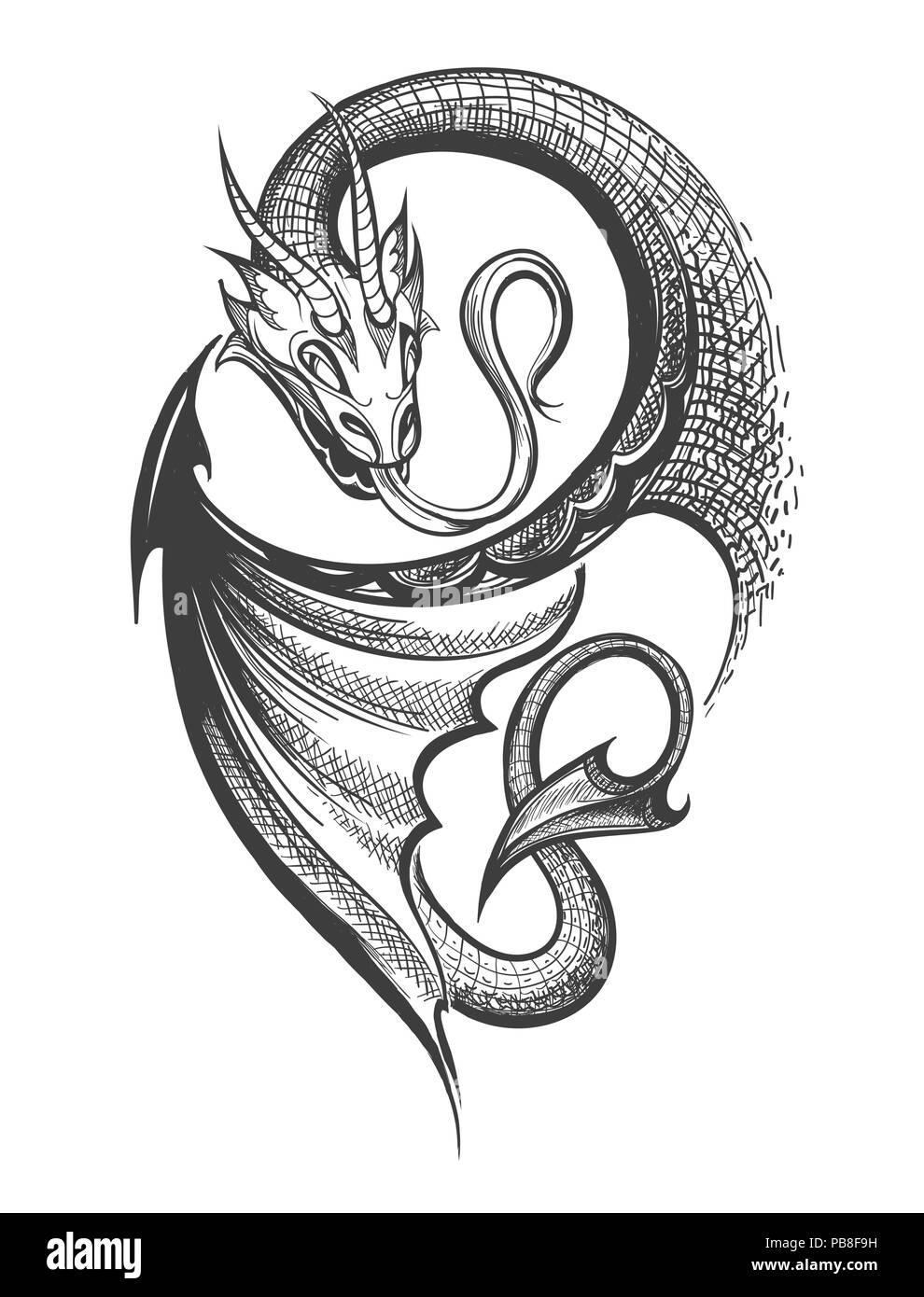 Cabezas De Dragones Para Tatuar tribal dragon tattoo imágenes de stock & tribal dragon