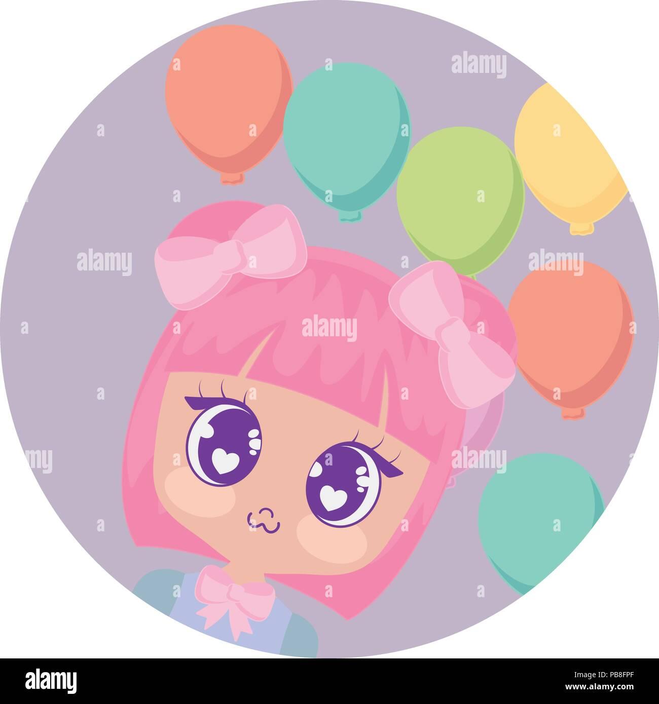 f0d1c72e8 Feliz cumpleaños diseño con linda chica asiática con globos sobre fondo  blanco
