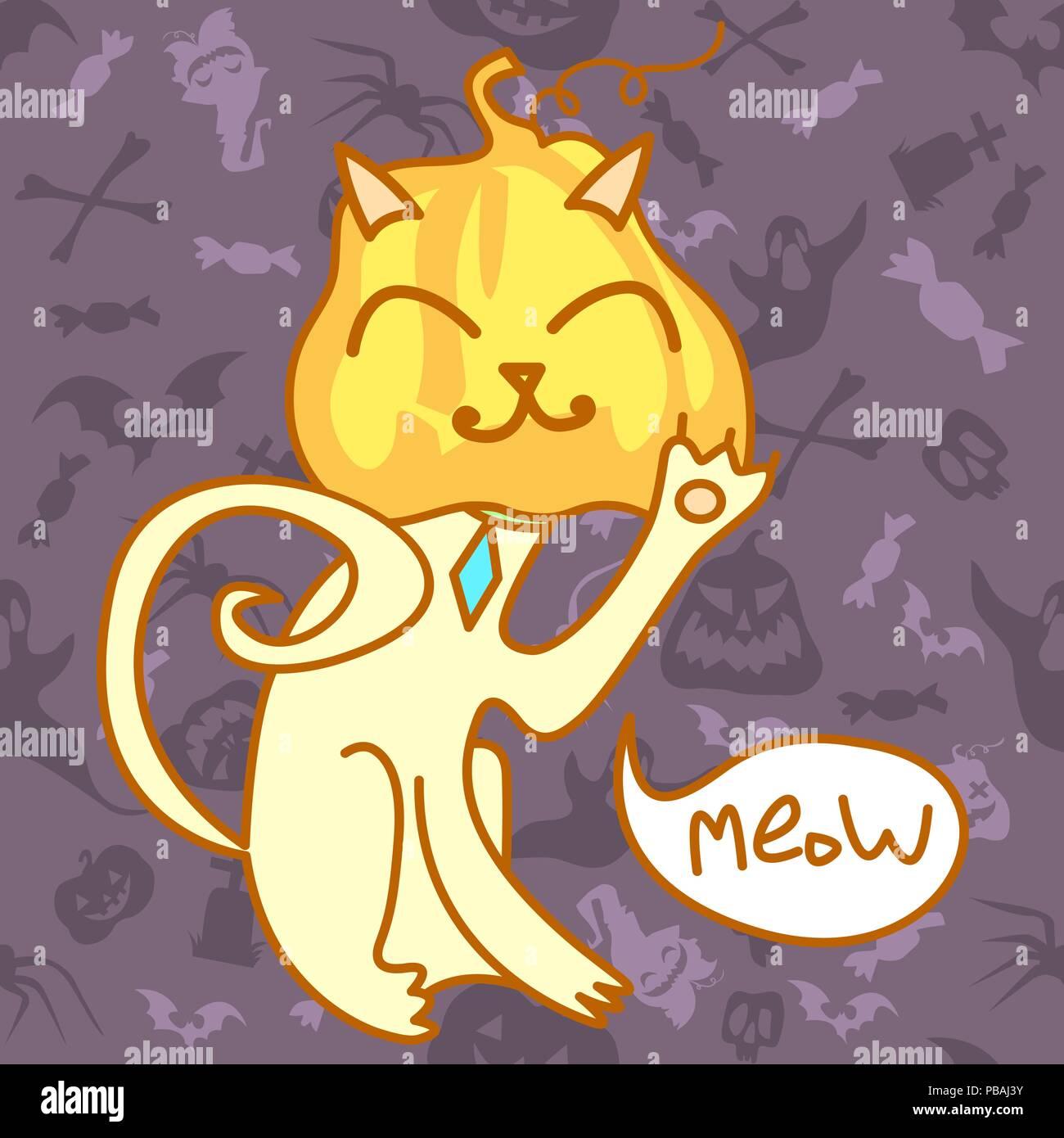 Gato de Halloween con calabaza en lugar de cabeza. Comic personaje de dibujos animados sobre fondo de vacaciones perfecta. Ilustración vectorial Ilustración del Vector