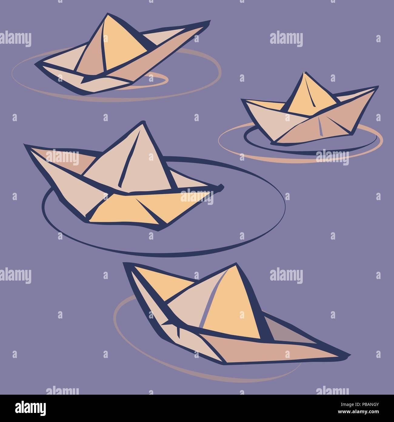 Barquitos de papel vectorial en el estilo de dibujos animados ...