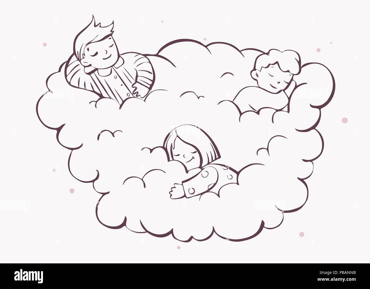 Los Niños Soñando Sobre La Nube De Colorear Ilustración Vectorial