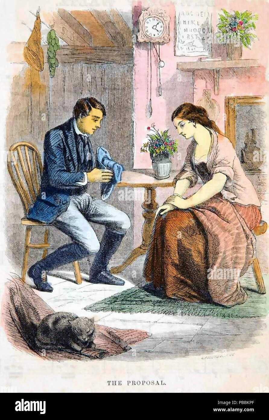Propuesta victoriana un grabado de 1862 Foto de stock