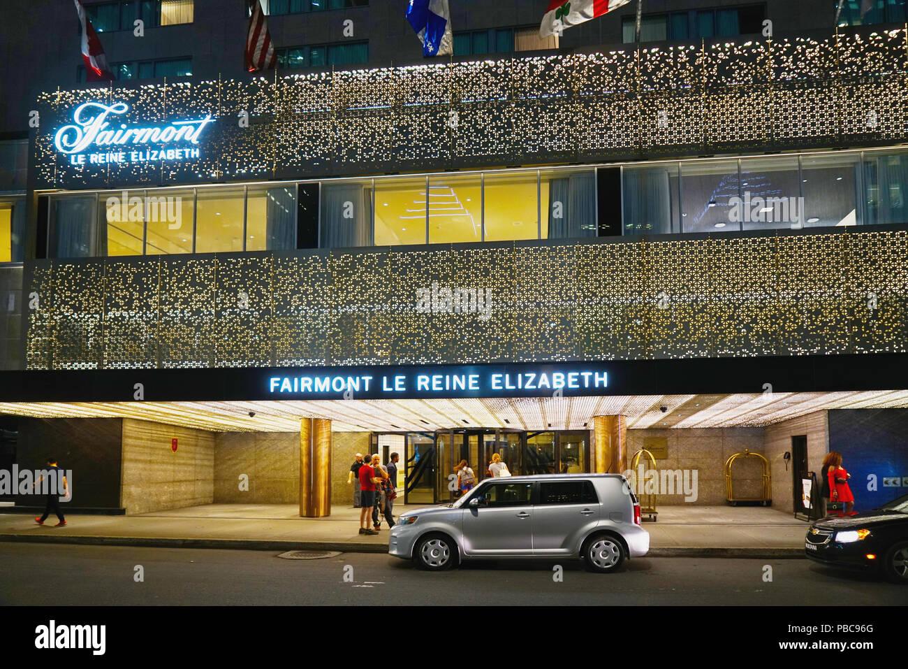 Montreal, Canadá, 26 de julio de 2018.A la entrada de disparo nocturno el Fairmont Queen Elizabeth hotel.Mario Beauregard Crédito/Alamy Live News Imagen De Stock