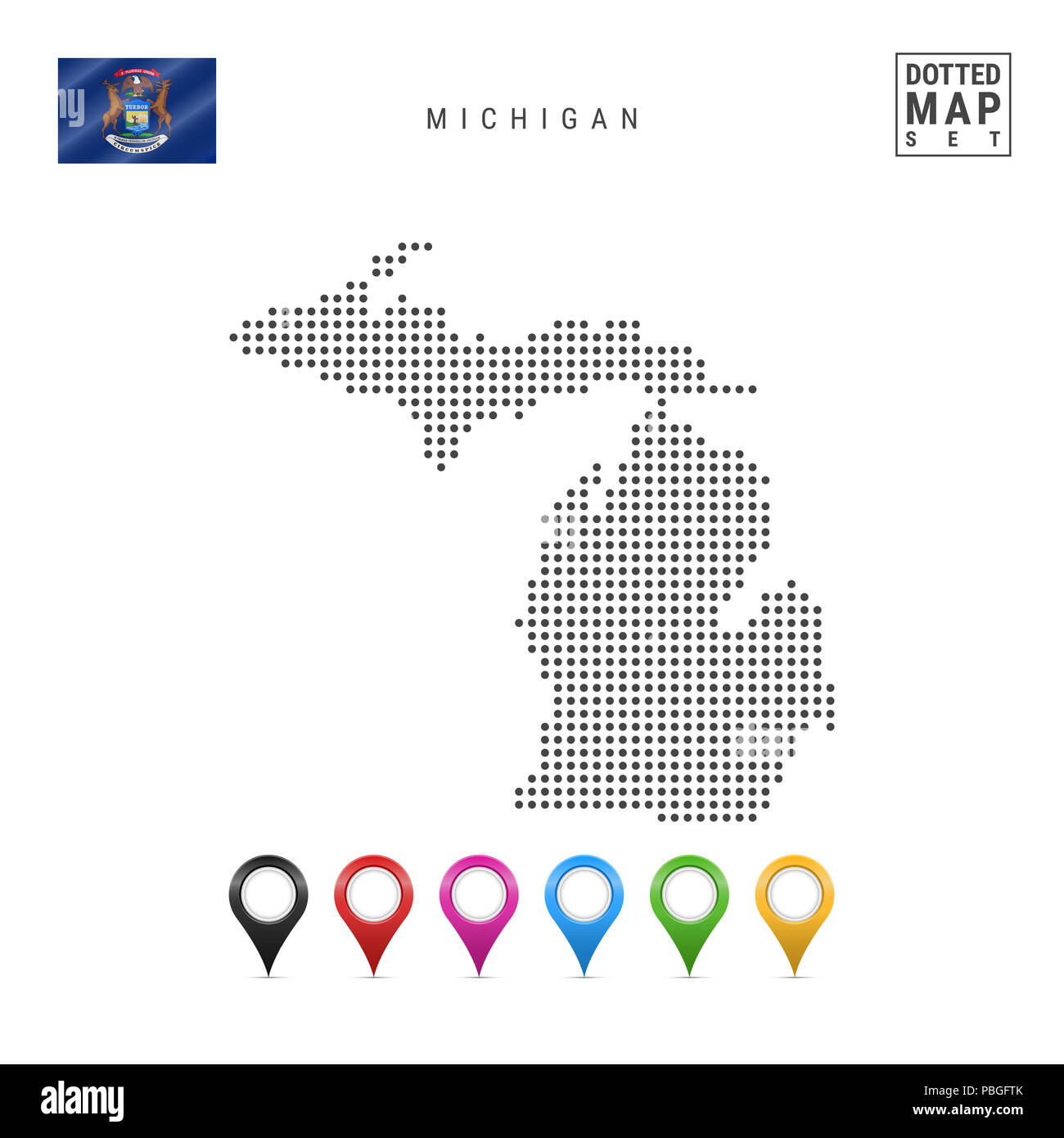 Map State Michigan American Flag Imágenes De Stock & Map State ...