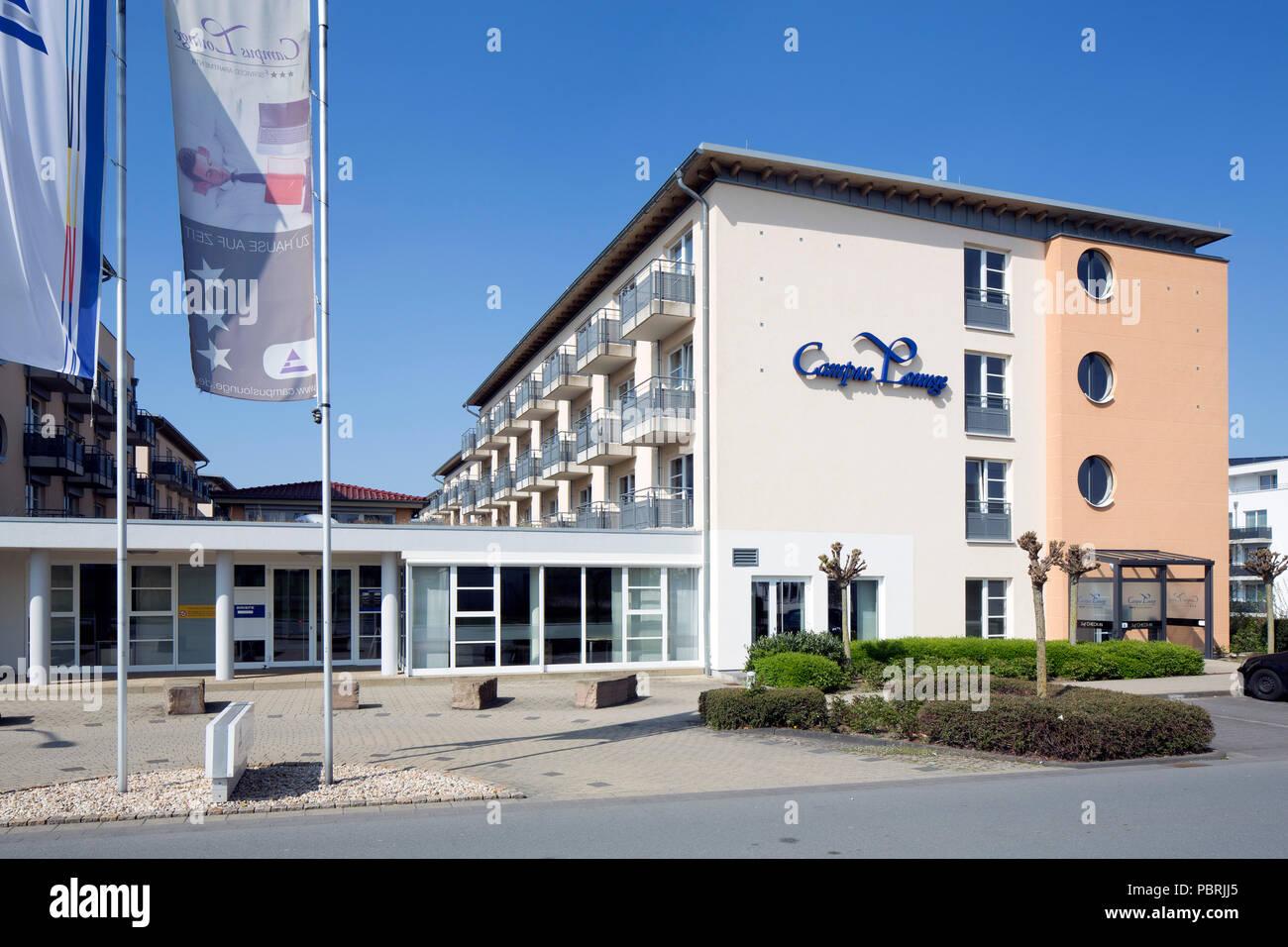 Campus Lounge, Boarding House y el Centro de Convenciones en el campus principal de la Universidad de Paderborn, Paderborn Imagen De Stock