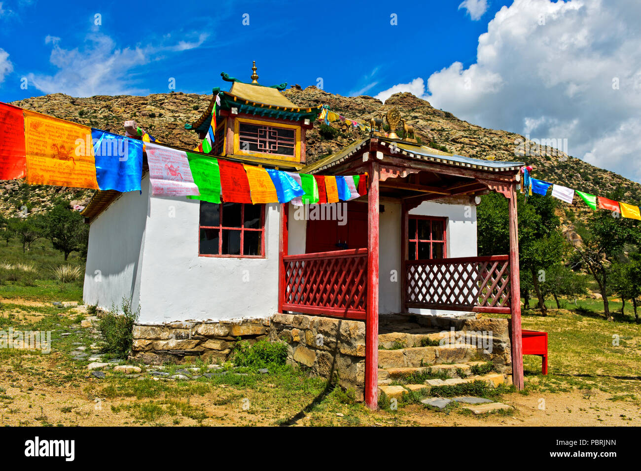 El templo, el monasterio de Erdene Khamba Khugnu Khan, Khan Uul Khögnö montañas Parque Nacional, la provincia de Bulgan, Mongolia Imagen De Stock