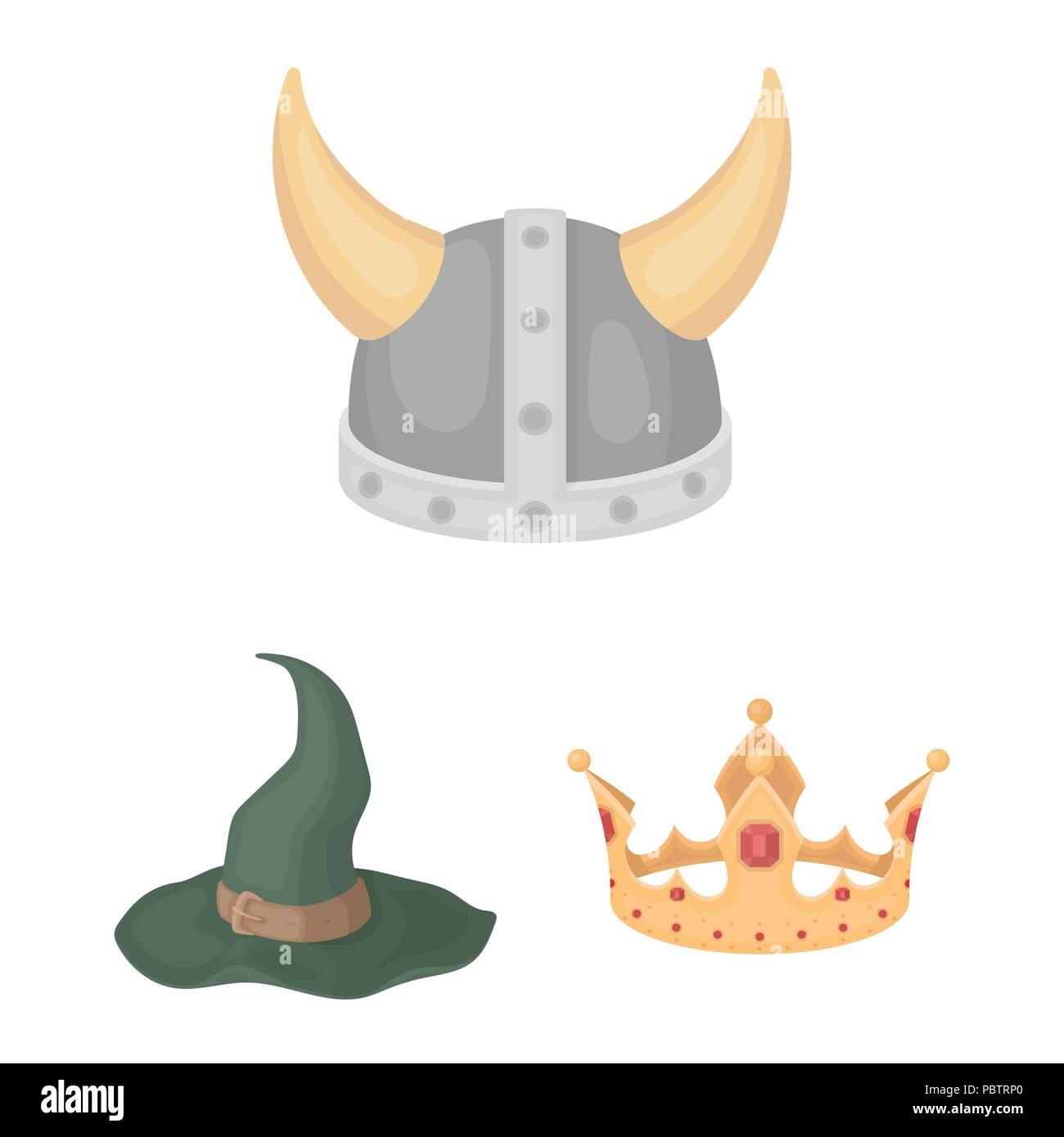d49cfa911701e Los diferentes tipos de sombreros cartoon iconos en conjunto para diseñar.tocado  símbolo vector stock ilustración.