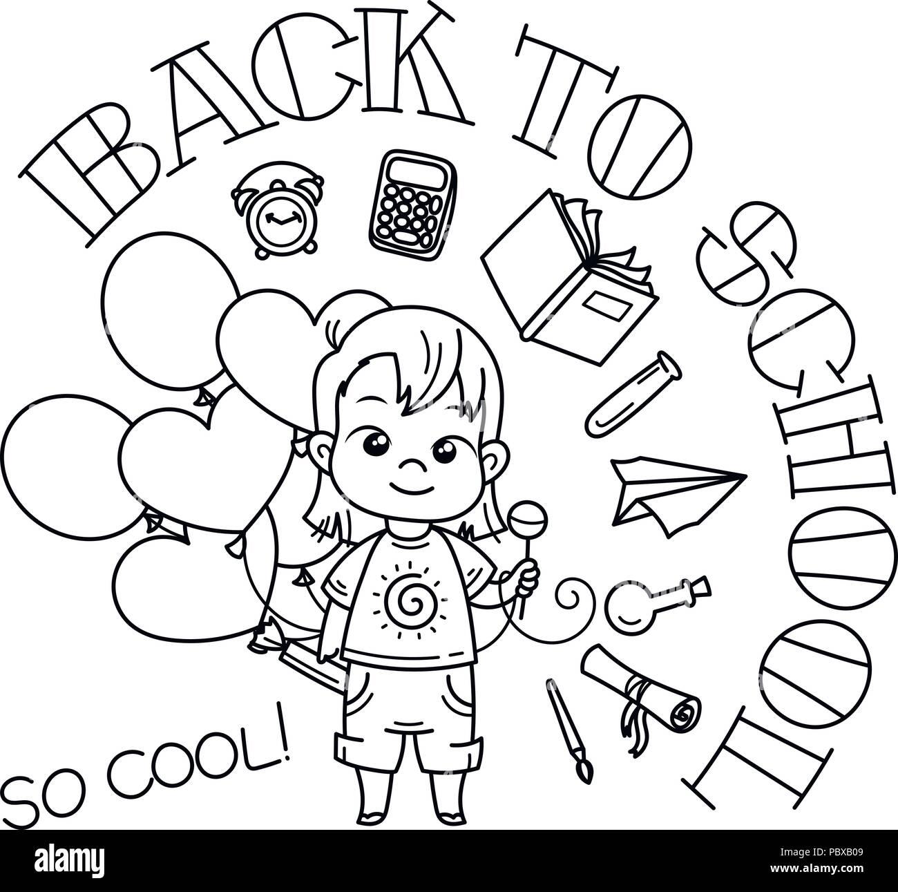 Bienvenido De Nuevo A La Escuela Cute School Kid Listo Para La