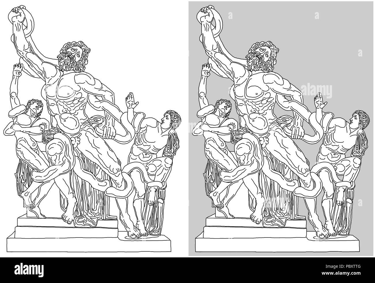 Estatua De Marmol De La Muerte De Laokoon Y Sus Hijos Situado En El